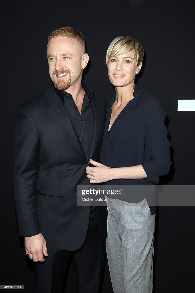Ben Foster and Robin Wright attend the Giorgio Armani Prive show as part of Paris Fashion Week Haute-Couture Spring/Summer 2015 on January 27, 2015 in Paris, France.