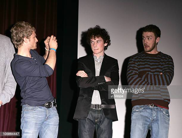 Ben Foster Anton Yelchin and Justin Timberlake during 2006 Sundance Film Festival 'Alpha Dog' Premiere Inside at The Eccles in Park City Utah United...