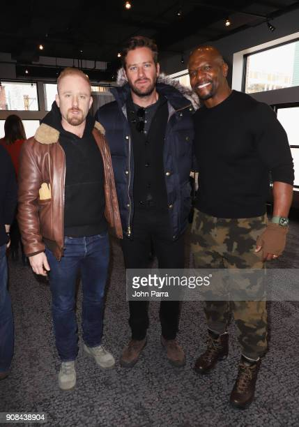Ben Foster Armie Hammer and Terry Crews attend The Hollywood Reporter 2018 Sundance Studio At Sky Strada Park City during the 2018 Sundance Film...