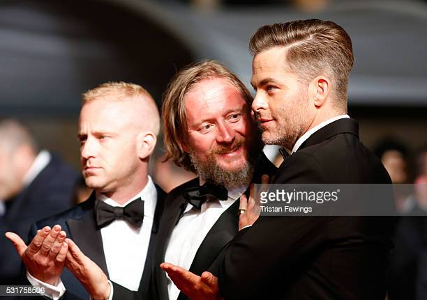 Ben Foster David Mackenzie and Chris Pine attend the Hands Of Stone premiere during the 69th annual Cannes Film Festival at the Palais des Festivals...