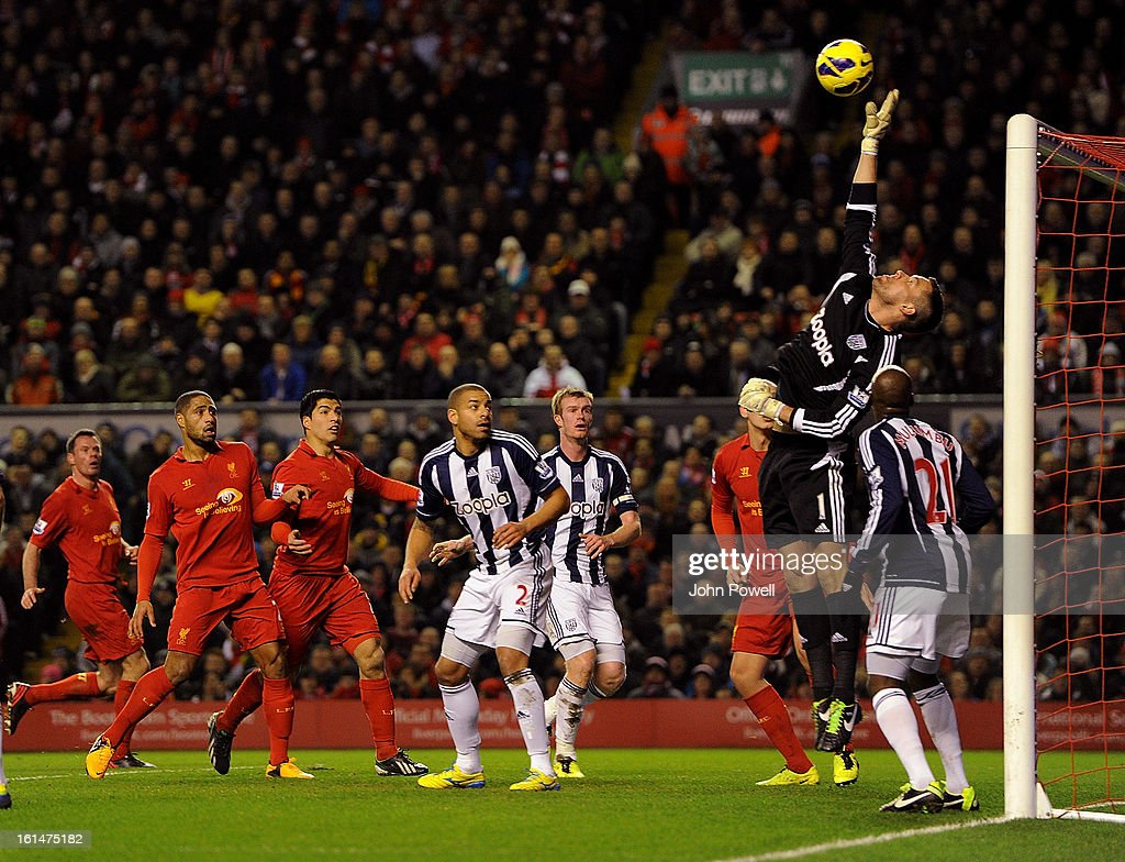 Ben Foster goalkeeper of West Bromwich Albion makes a save during the Barclays Premier League match between Liverpool and West Bromwich Albion at Anfield on February 11, 2013 in Liverpool, England.