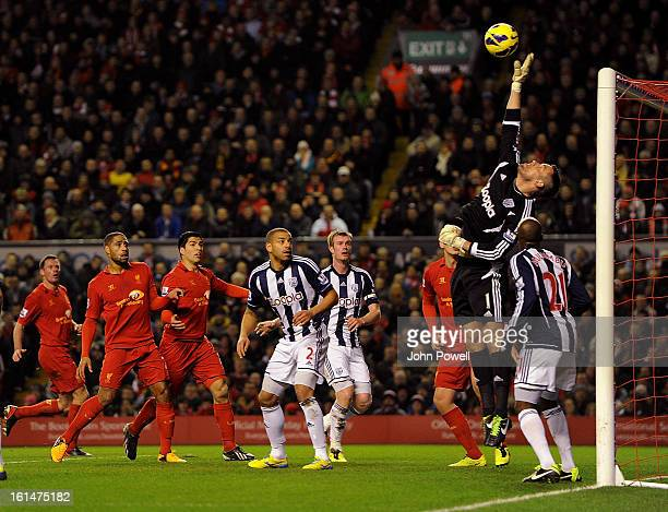 Ben Foster goalkeeper of West Bromwich Albion makes a save during the Barclays Premier League match between Liverpool and West Bromwich Albion at...