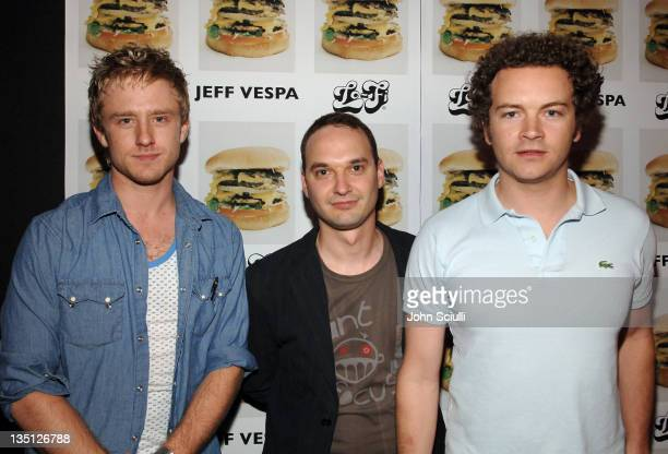 Ben Foster Jeff Vespa and Danny Masterson during Jeff Vespa's Eat Me Art Show Opening at The Gallery at LoFi in Los Angeles California United States