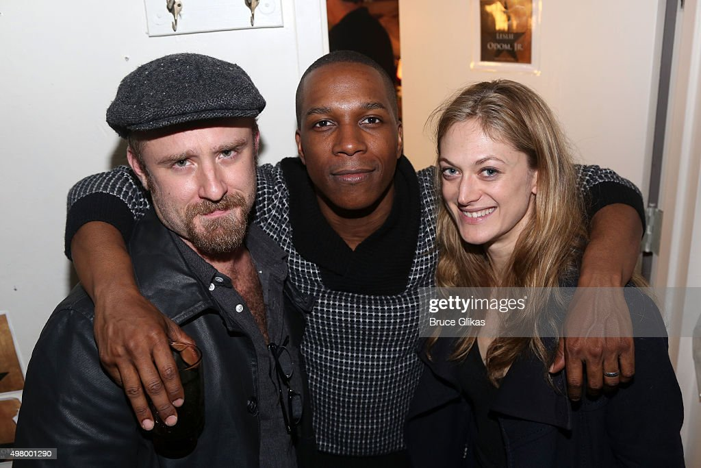 Ben Foster, Leslie Odom Jr and Marin Ireland pose backstage at the hit musical 'Hamilton' on Broadway at The Richard Rogers Theater on November 19, 2015 in New York City.