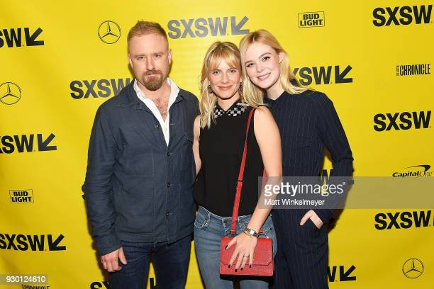 Ben Foster Melanie Laurent and Elle Fanning attend the 'Galveston' Premiere 2018 SXSW Conference and Festivals at Paramount Theatre on March 10 2018...