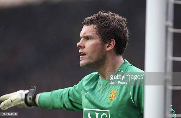 Ben Foster of Manchester United in action during the Barclays FA Premier League match between Derby County and Manchester United at Pride Park on...