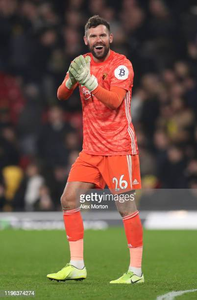Ben Foster of Watford acknowledges the fans following the Premier League match between Watford FC and Aston Villa at Vicarage Road on December 28,...