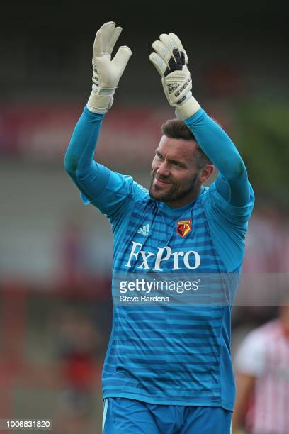 Ben Foster of Watford applauds the supporters after the preseason match between Brentford and Watford at Griffin Park on July 28 2018 in Brentford...