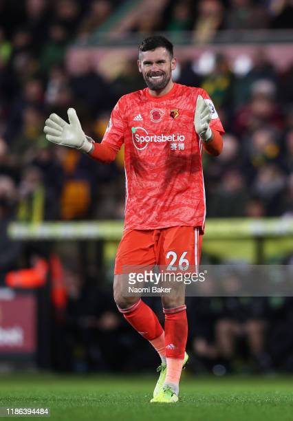 Ben Foster of Watford celebrates after Andre Gray of Watford scores their sides second goal during the Premier League match between Norwich City and...