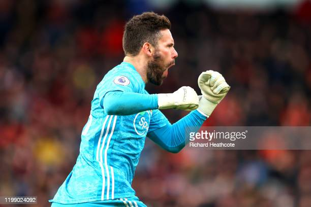 Ben Foster of Watford celebrates after his side score their first goal during the Premier League match between AFC Bournemouth and Watford FC at...