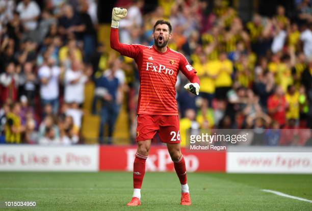Ben Foster of Watford celebrates after Roberto Pereyra of Watford scores their team's second goal during the Premier League match between Watford FC...