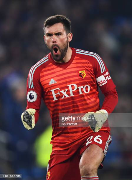 Ben Foster of Watford celebrates as Gerard Deulofeu of Watford scores his team's first goal during the Premier League match between Cardiff City and...