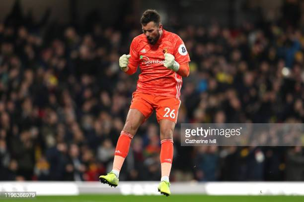 Ben Foster of Watford celebrates his sides first goal during the Premier League match between Watford FC and Aston Villa at Vicarage Road on December...