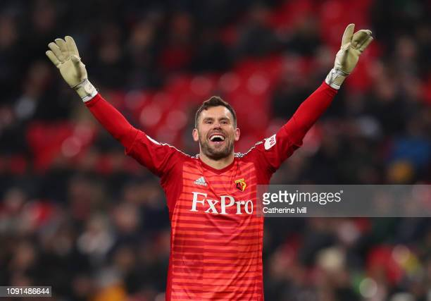 Ben Foster of Watford celebrates his team's first goal during the Premier League match between Tottenham Hotspur and Watford FC at Wembley Stadium on...