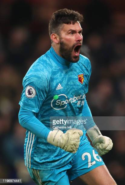 Ben Foster of Watford celebrates his team's second goal during the Premier League match between Watford FC and Wolverhampton Wanderers at Vicarage...