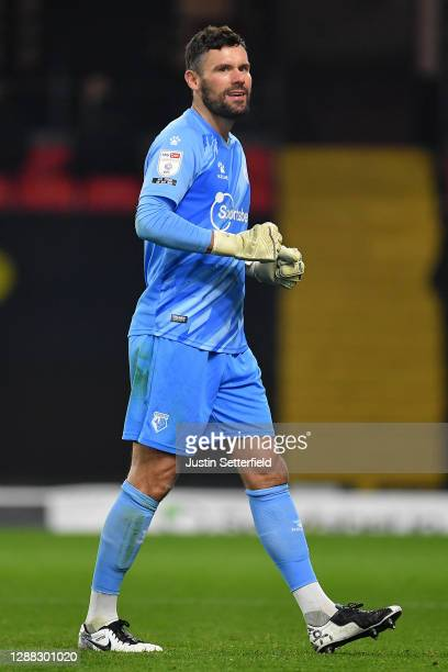Ben Foster of Watford celebrates the 2nd Watford goal during the Sky Bet Championship match between Watford and Preston North End at Vicarage Road on...