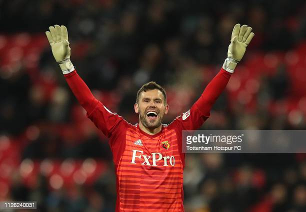 Ben Foster of Watford celebrates Watfords first goal during the Premier League match between Tottenham Hotspur and Watford FC at Wembley Stadium on...
