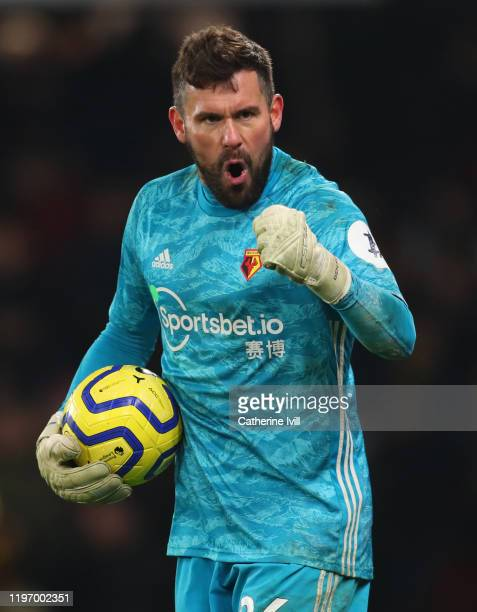Ben Foster of Watford during the Premier League match between Watford FC and Wolverhampton Wanderers at Vicarage Road on January 01, 2020 in Watford,...