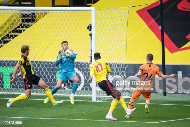 Ben Foster of Watford FC make save during the Premier League match between Watford FC and Newcastle United at Vicarage Road on July 11 2020 in...
