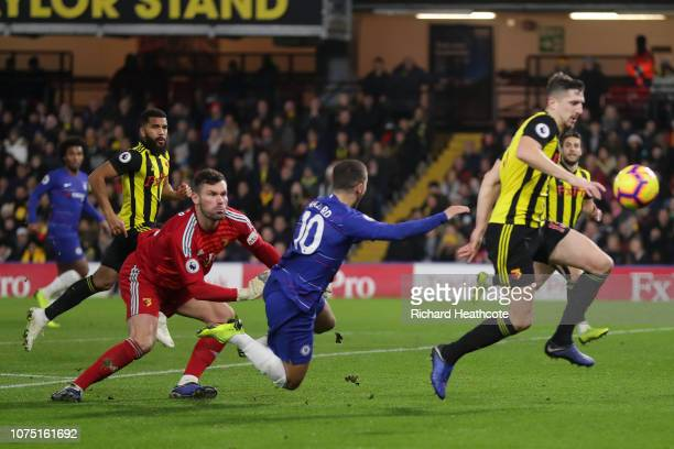 Ben Foster of Watford fouls Eden Hazard of Chelsea for a penalty during the Premier League match between Watford FC and Chelsea FC at Vicarage Road...