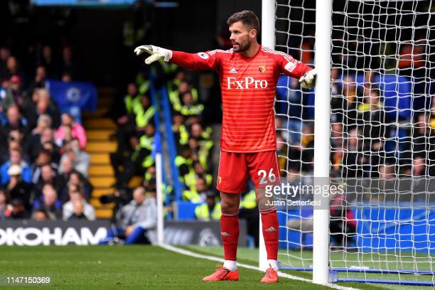 Ben Foster of Watford gestures during the Premier League match between Chelsea FC and Watford FC at Stamford Bridge on May 05 2019 in London United...
