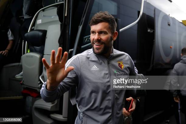 Ben Foster of Watford gets off the teram bus before the Premier League match between Watford FC and Everton FC at Vicarage Road on February 01, 2020...