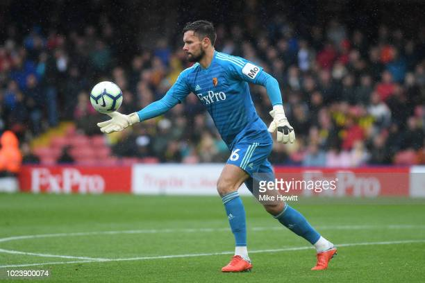 Ben Foster of Watford in action during the Premier League match between Watford FC and Crystal Palace at Vicarage Road on August 26 2018 in Watford...