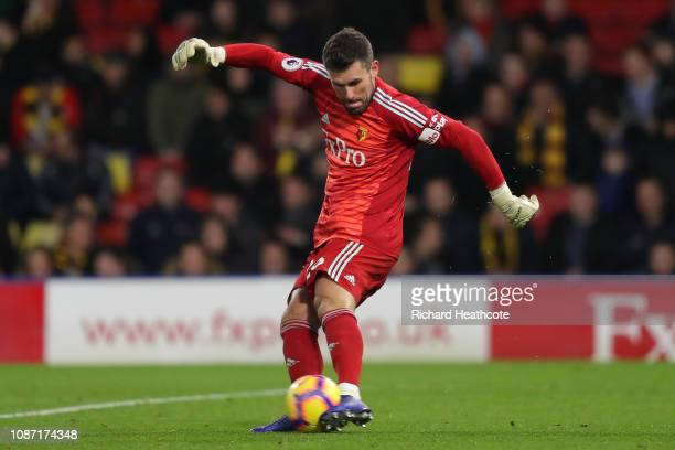 Ben Foster of Watford in action during the Premier League match between Watford FC and Chelsea FC at Vicarage Road on December 26 2018 in Watford...