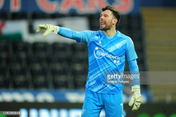 Ben Foster of Watford in action during the Sky Bet Championship match between Swansea City and Watford at the Liberty Stadium on January 02, 2021 in...