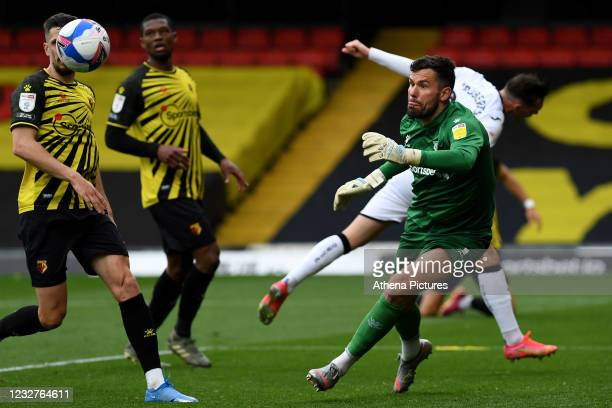 Ben Foster of Watford in action during the Sky Bet Championship match between Watford and Swansea City at Vicarage Road on May 08, 2021 in Watford,...