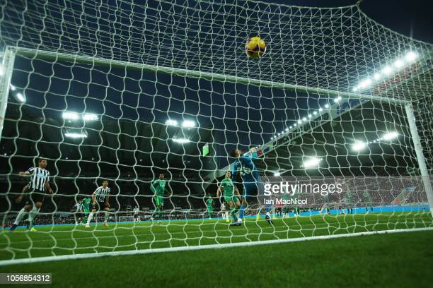 Ben Foster of Watford is beaten by the shot of Ayoze Perez of Newcastle United for the only goal of the game during the Premier League match between...