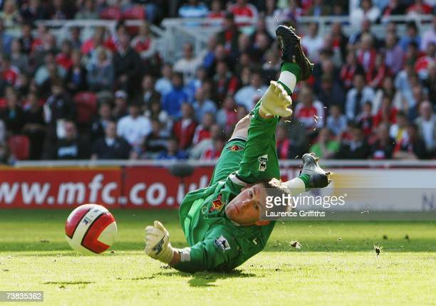 Ben Foster of Watford makes a diving save during the Barclays Premiership match between Middlesbrough and Watford at The Riverside Stadium on April...