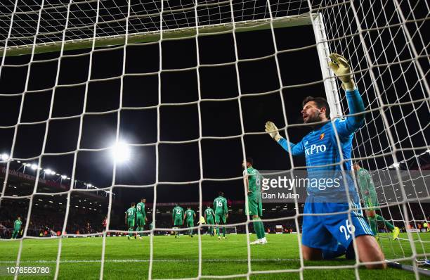 Ben Foster of Watford reacts as he fails to stop Callum Wilson of AFC Bournemouth from scoring his team's second goal during the Premier League match...