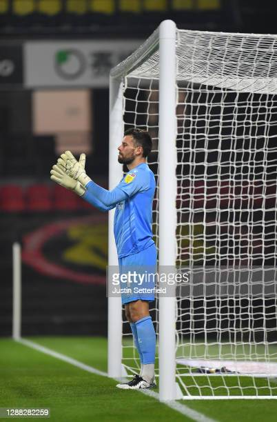 Ben Foster of Watford reacts during the Sky Bet Championship match between Watford and Preston North End at Vicarage Road on November 28, 2020 in...