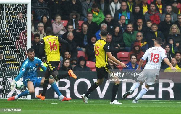 Ben Foster of Watford saves a shot from James McArthur of Crystal Palace during the Premier League match between Watford FC and Crystal Palace at...