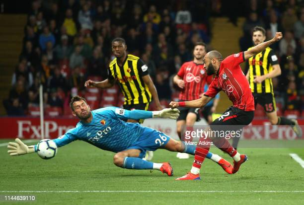 Ben Foster of Watford saves from Nathan Redmond of Southampton during the Premier League match between Watford FC and Southampton FC at Vicarage Road...