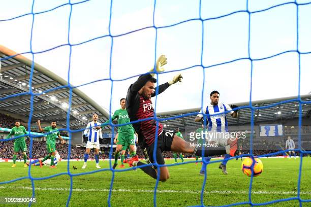 Ben Foster of Watford stretches to save the ball during the Premier League match between Brighton Hove Albion and Watford FC at American Express...