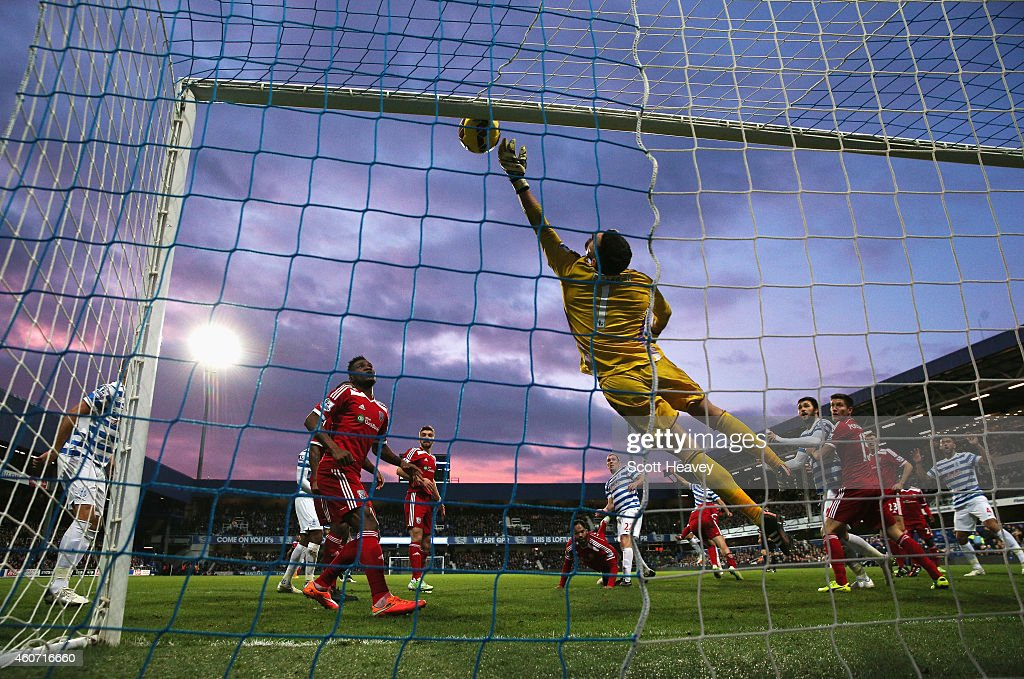 Ben Foster of West Brom makes a save during the Barclays Premier League match between Queens Park Rangers and West Bromwich Albion at Loftus Road on December 20, 2014 in London, England.