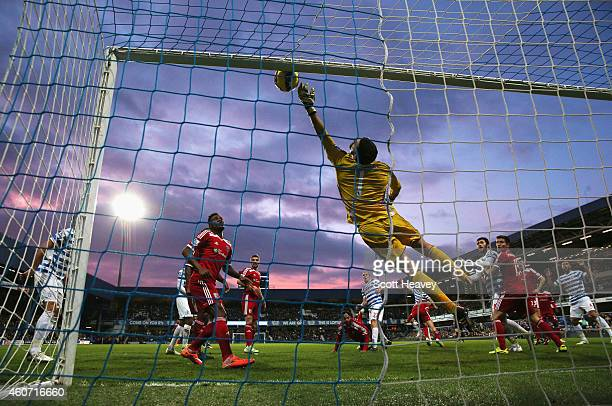 Ben Foster of West Brom makes a save during the Barclays Premier League match between Queens Park Rangers and West Bromwich Albion at Loftus Road on...