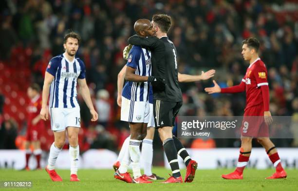 Ben Foster of West Bromwich Albion and Allan Nyom of West Bromwich Albion celebrate during The Emirates FA Cup Fourth Round match between Liverpool...
