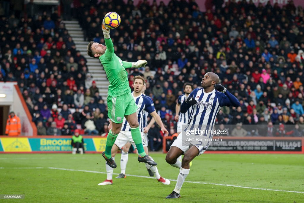 Ben Foster of West Bromwich Albion and Allan-Romeo Nyom of West Bromwich Albion during the Premier League match between AFC Bournemouth and West Bromwich Albion at Vitality Stadium on March 17, 2018 in Bournemouth, England.