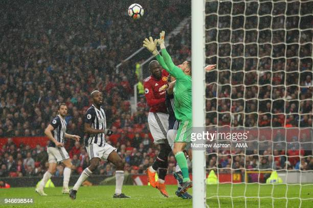 Ben Foster of West Bromwich Albion babes from Romelu Lukaku of Manchester United during the Premier League match between Manchester United and West...