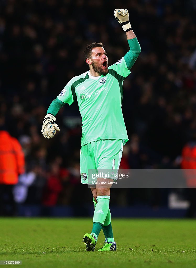 Ben Foster of West Bromwich Albion celebrates as as Saido Berahino of West Bromwich Albion (not pictured) scores their first goal during the Barclays Premier League match between West Bromwich Albion and Hull City at The Hawthorns on January 10, 2015 in West Bromwich, England.