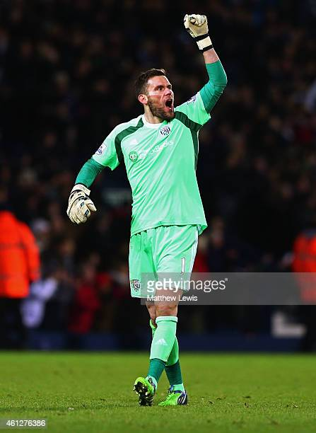 Ben Foster of West Bromwich Albion celebrates as as Saido Berahino of West Bromwich Albion scores their first goal during the Barclays Premier League...