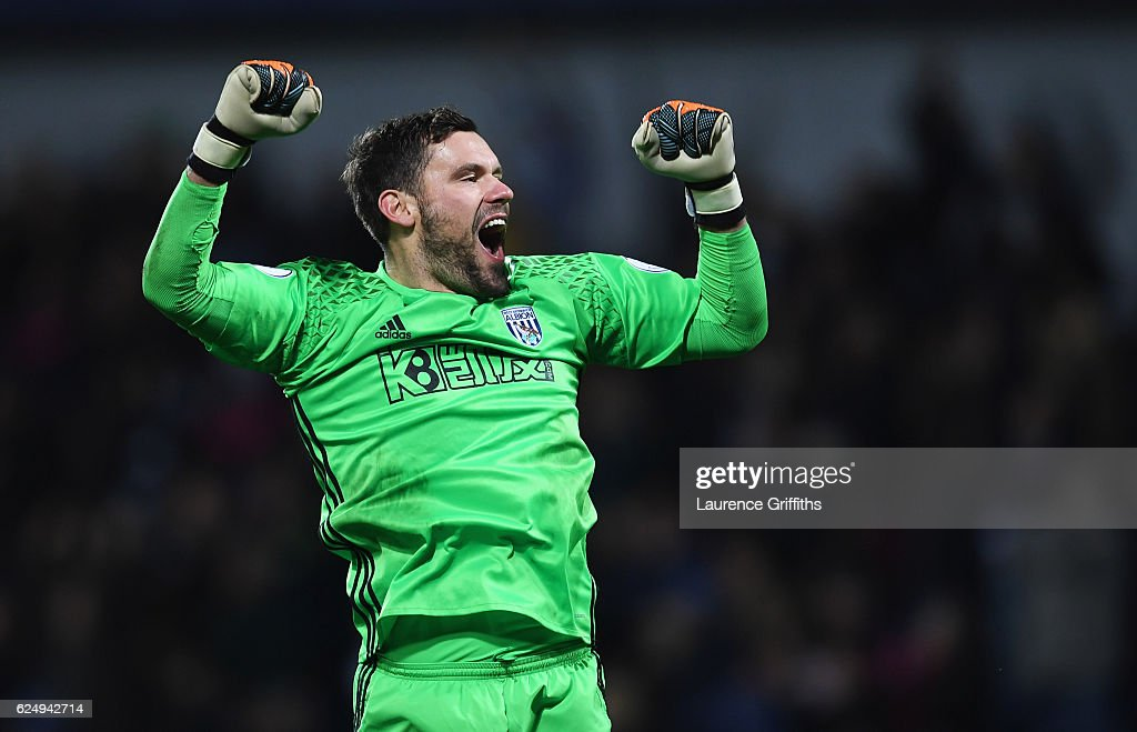 Ben Foster of West Bromwich Albion celebrates during the Premier League match between West Bromwich Albion and Burnley at The Hawthorns on November 21, 2016 in West Bromwich, England.