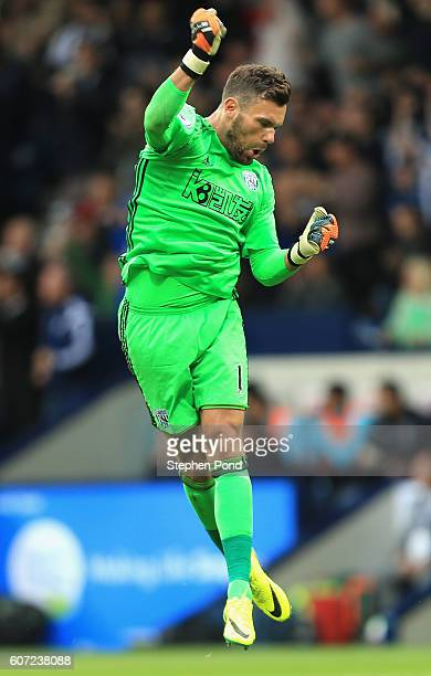 Ben Foster of West Bromwich Albion celebrates his sides first goal during the Premier League match between West Bromwich Albion and West Ham United...