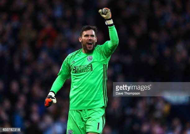 Ben Foster of West Bromwich Albion celebrates his sides first goal during the Premier League match between West Bromwich Albion and Stoke City at The...
