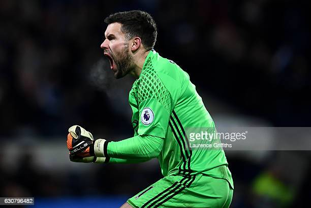 Ben Foster of West Bromwich Albion celebrates his sides third goal during the Premier League match between West Bromwich Albion and Hull City at The...