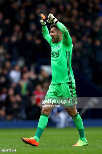 Ben Foster of West Bromwich Albion celebrates his sides third goal during the Premier League match between West Bromwich Albion and Arsenal at The...