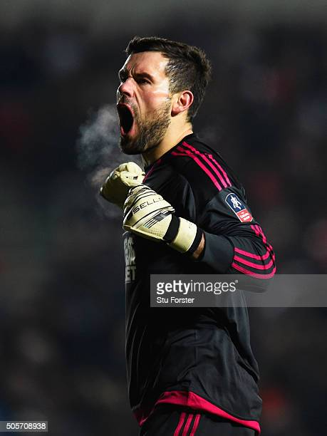 Ben Foster of West Bromwich Albion celebrates his team's first goal during the Emirates FA Cup Third Round Replay match between Bristol City and West...